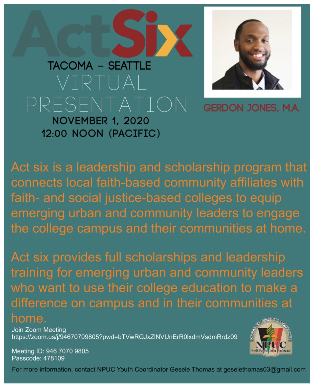 NPUC Youth Act Six Virtual Presentation